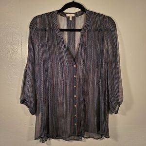 Joie Button Down Pleated Sheer Silk Blouse Small